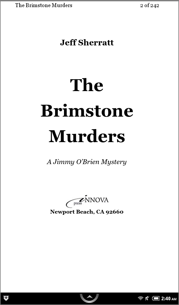 The Brimstone Murders, on a Nook Reader