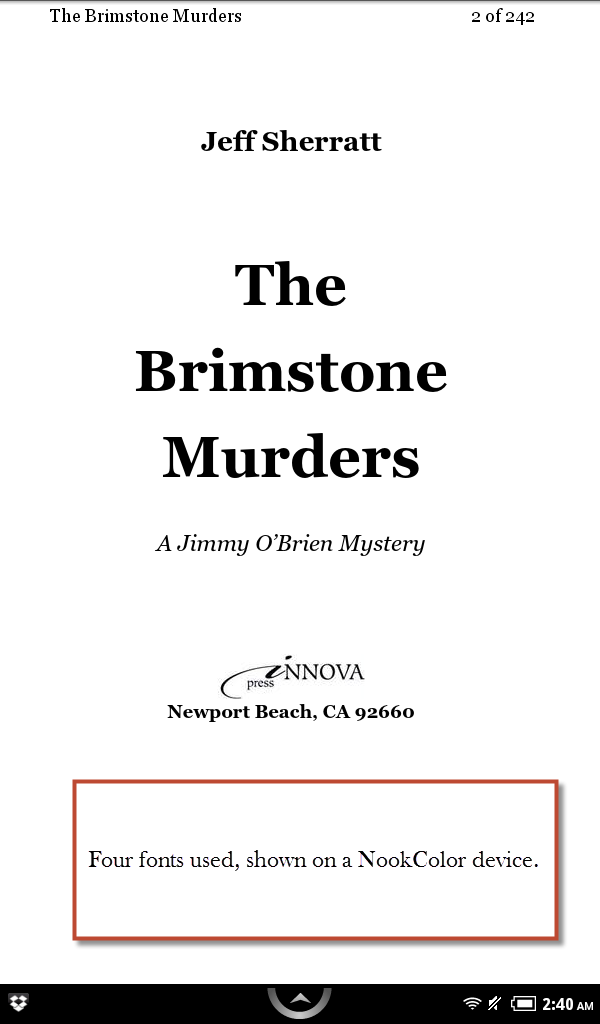 The Brimstone Murders, using four fonts, on the NookColor.