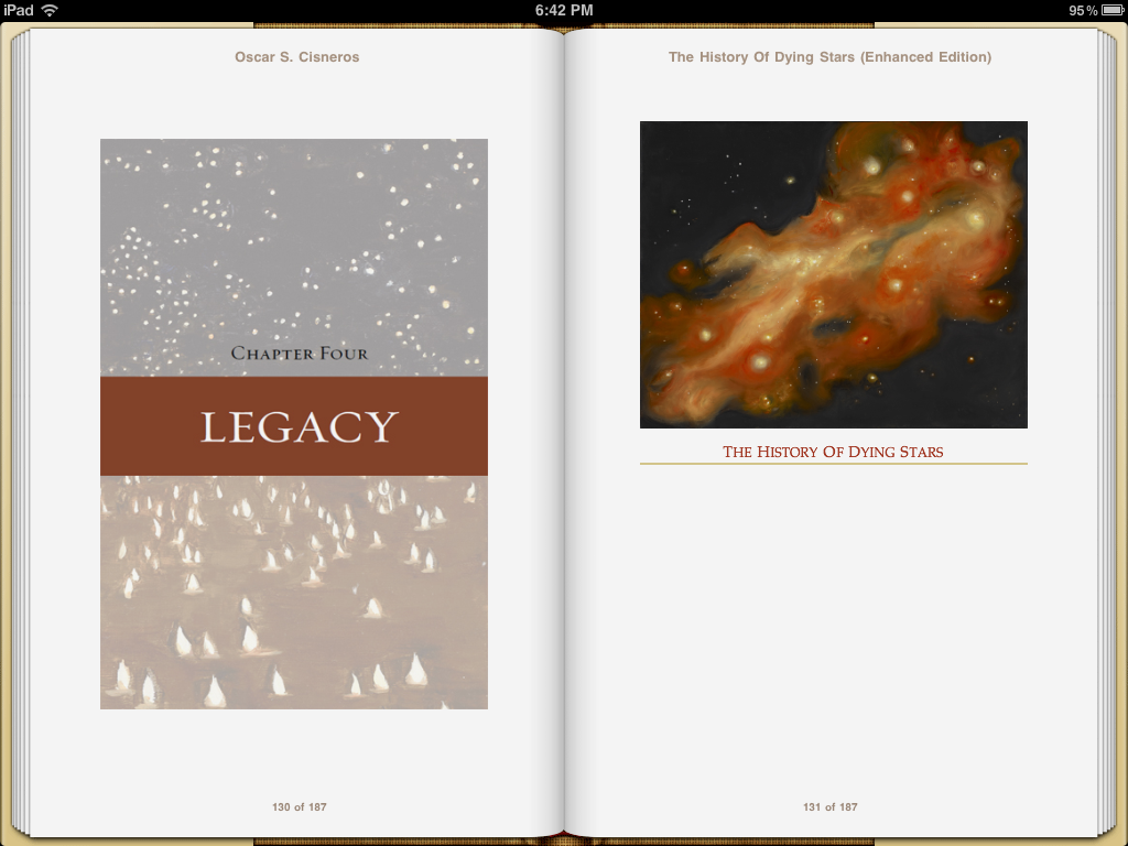 Oscar Cisnero's The History of Dying Stars, showing a running header created by the iPad Device.