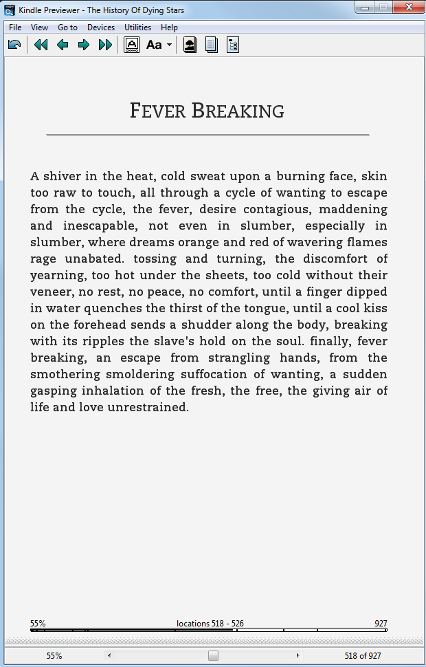 Fever Breaking, on a Kindle e-ink device, displaying the default Caecilia font.