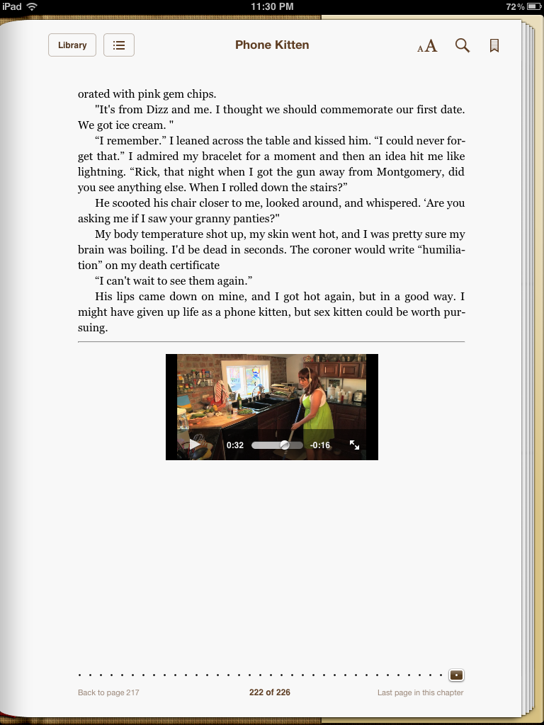 BooksBnimble's wonderful comedic romp, Phone Kitten, on an iPad Reader, displaying the video capabilities