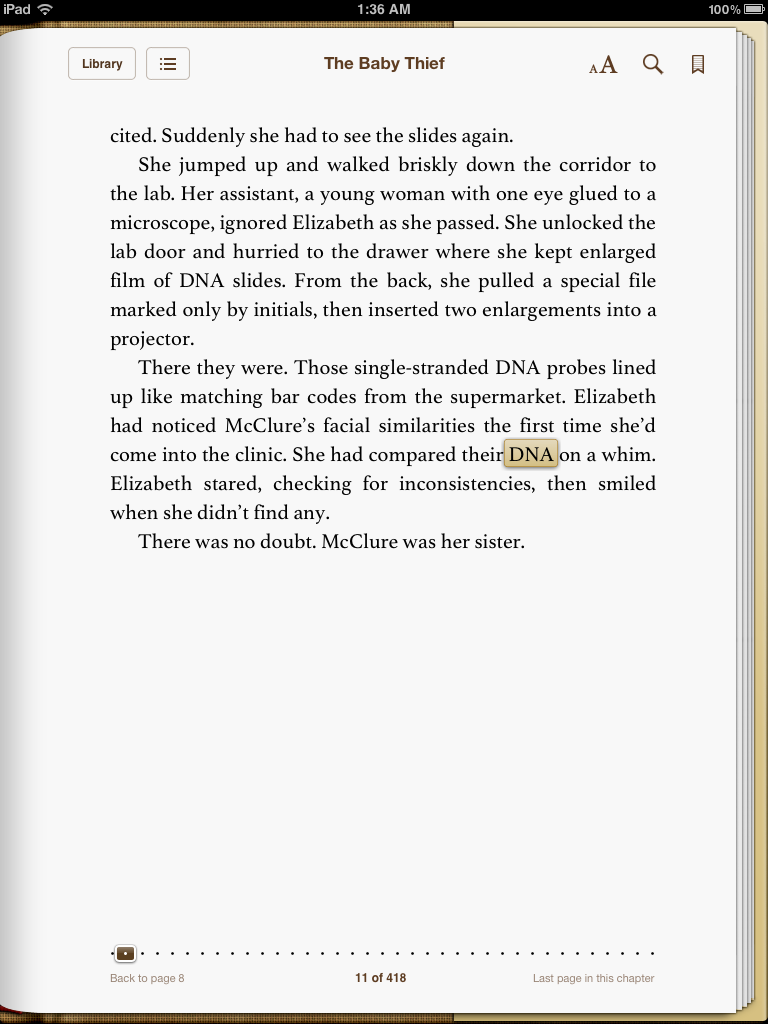 LJ Sellers' The Baby Thief, showing a word highlighted, that the user wants to search for in the book.