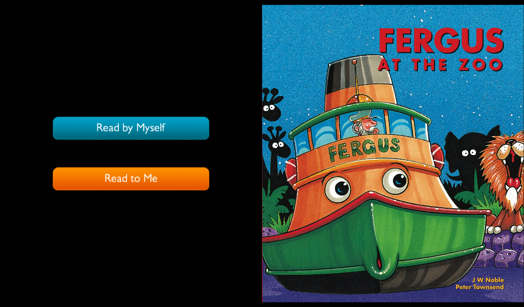 One of the wonderful Fergus the Ferry books, on the NookKids' reading platform.