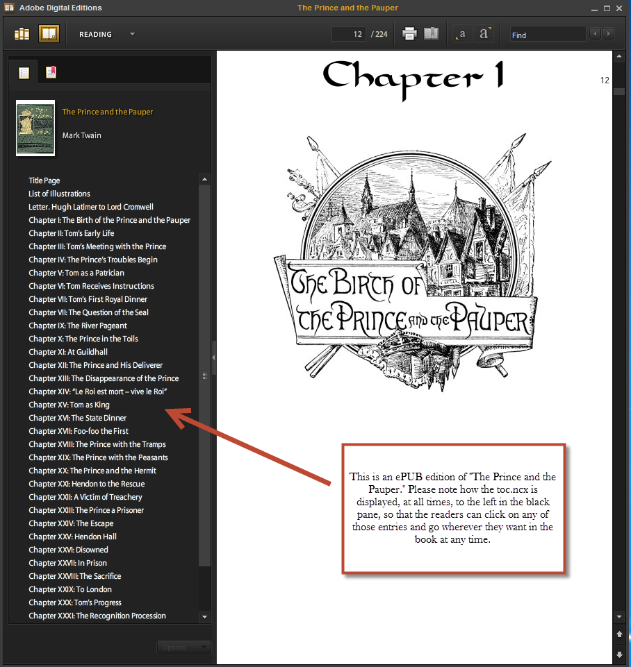 An ePUB displaying the invisible TOC NCX.